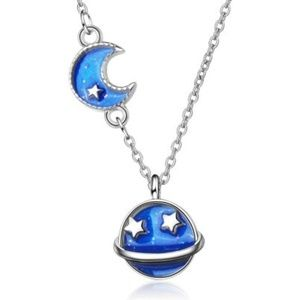 Planet and Moon Sterling Silver Necklace New